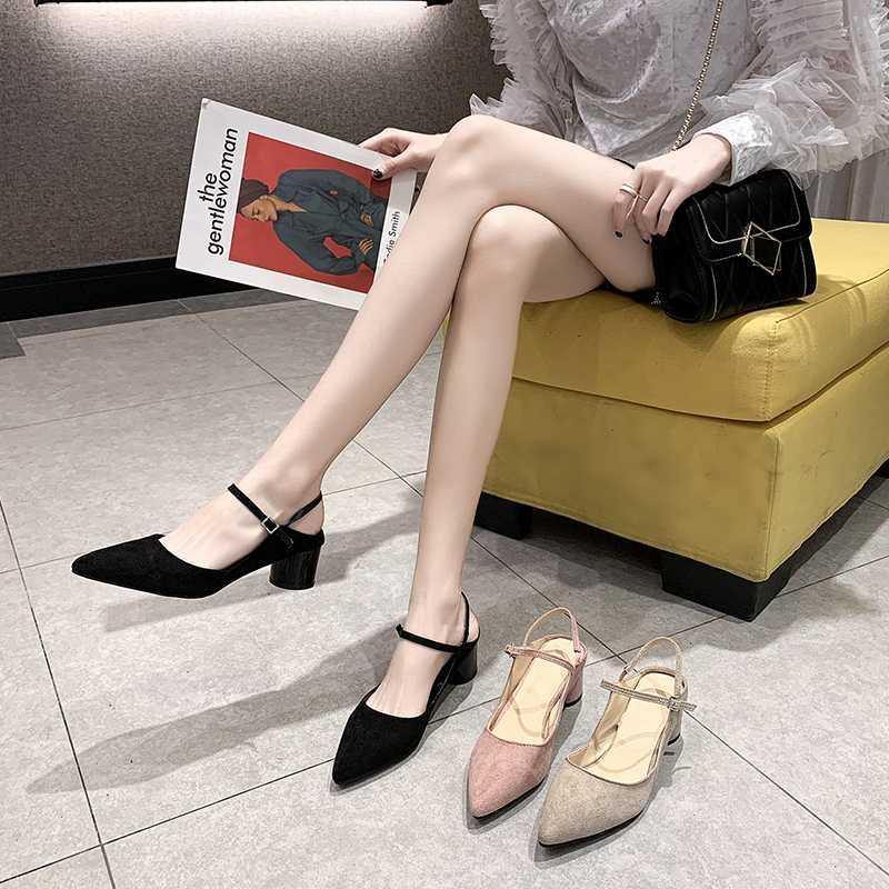 Calçados Femininos, saltos altos, sapatos de caminhada simples, 5.5cm Altura do salto, camurça, senhoras elegantes, Hora de ponta sapatos número 34-39