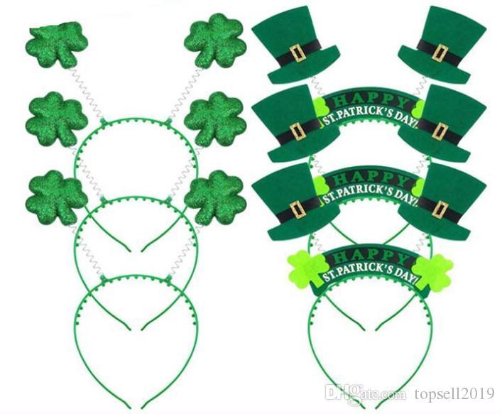 Green Shamrock Headband Do Cabelo De Plástico Ornamentos Irlandês St Patricks Day Fontes Do Partido Designer Headbands Direto Da Fábrica SN2059