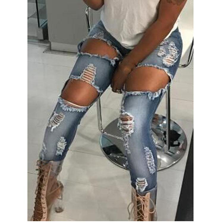 2019 Woman Casual Denim Pants Skinny Strech Slim Hole Jeans Ripped High Waist Pencil Trousers