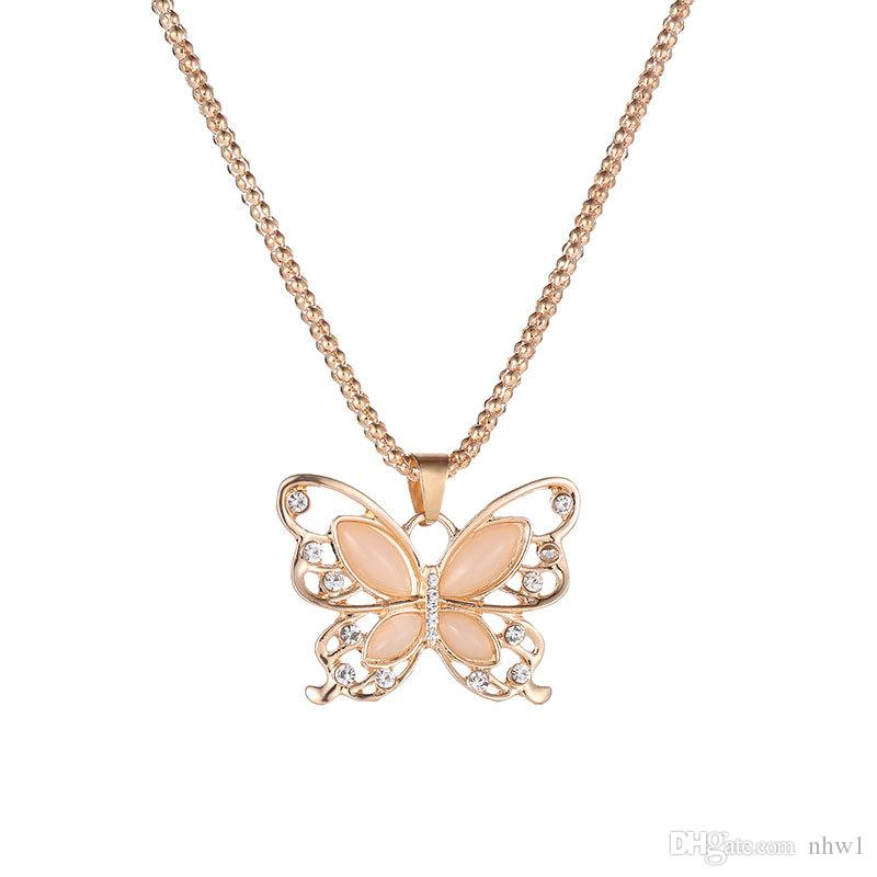 Women Lady Necklace Choker Pendientes Rose Gold Opal Butterfly Pendant Exquisite Necklace Sweater Chain Oorbellen Gift