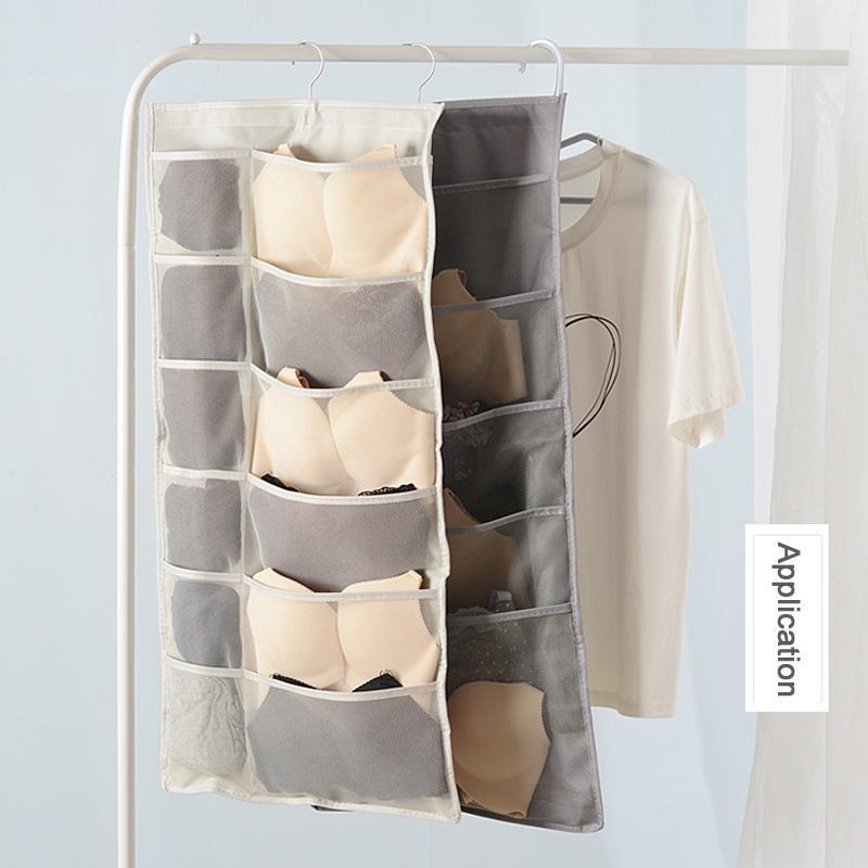 Bolsas colgantes de doble cara Organizador de armarios para la ropa interior Artículos de tocador Accesorios Sujetador Calcetín 30 15 Bolsillos de malla Gancho metálico giratorio