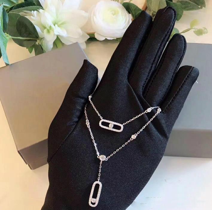 Женская ожерелье конструктора MOVE ювелирных изделий стерлингового серебра S925 Съемный ожерелье Мода Темперамент двойной Серебряное ожерелье