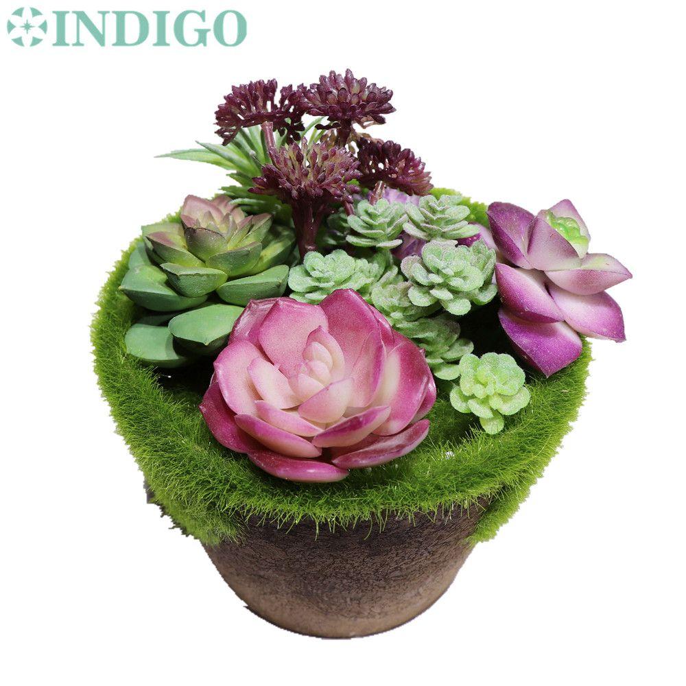 إنديجو - (1 مجموعة) الأرجواني نبات عصاري نبات الصبار مع إناء الصحراء البلاستيك بونساي النبات الجدول الديكور الخضرة