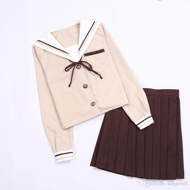Japanese School Uniforms For Women Milk Tea Sailor Suit Cute Girls Student JK Uniforms Tops + Coffee Pleated Skirts