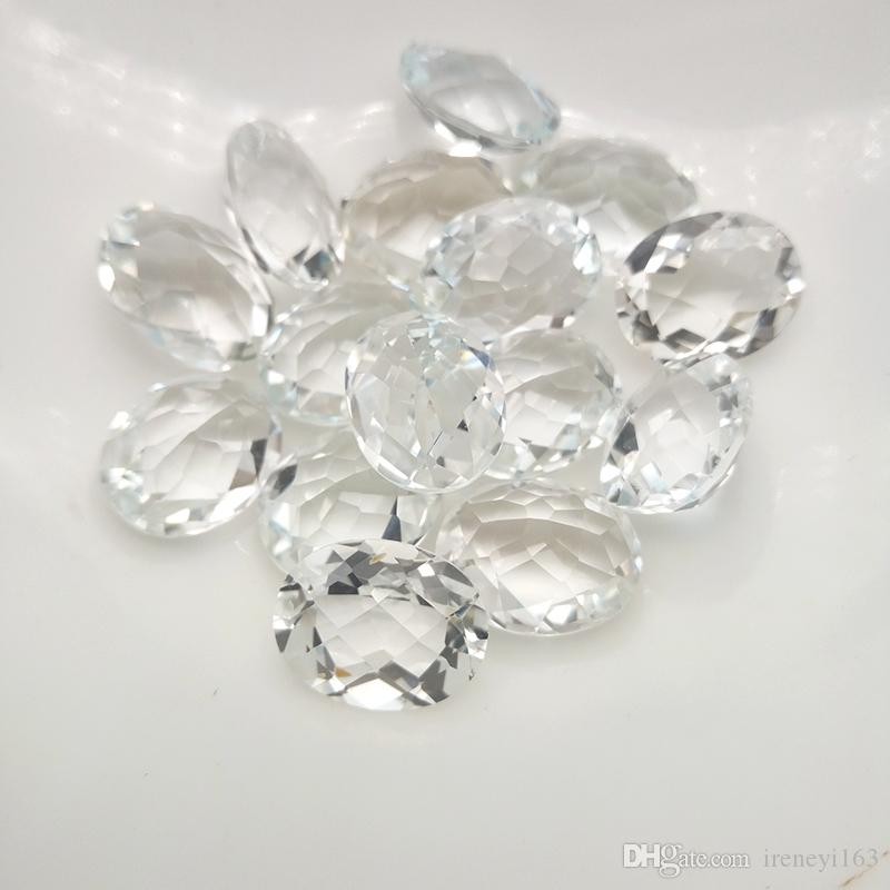 Natural White Topaz Oval Checkboard Cut High-end 100% Real Semi-precious Stone 6x8-10x12mm Loose Gemstone For Jewelry Making 20pcs/Lot