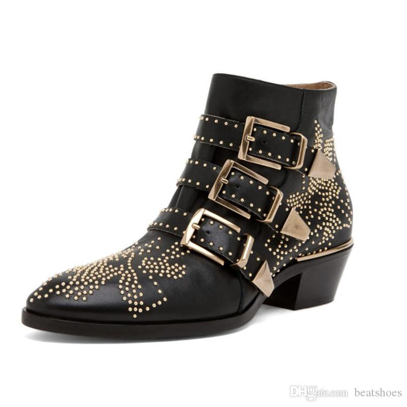 Designer Women Susanna buckled Boot Martin Studded Boots Winter real leather chunky Heels Round Toe shoes with Side Zipper US4-12