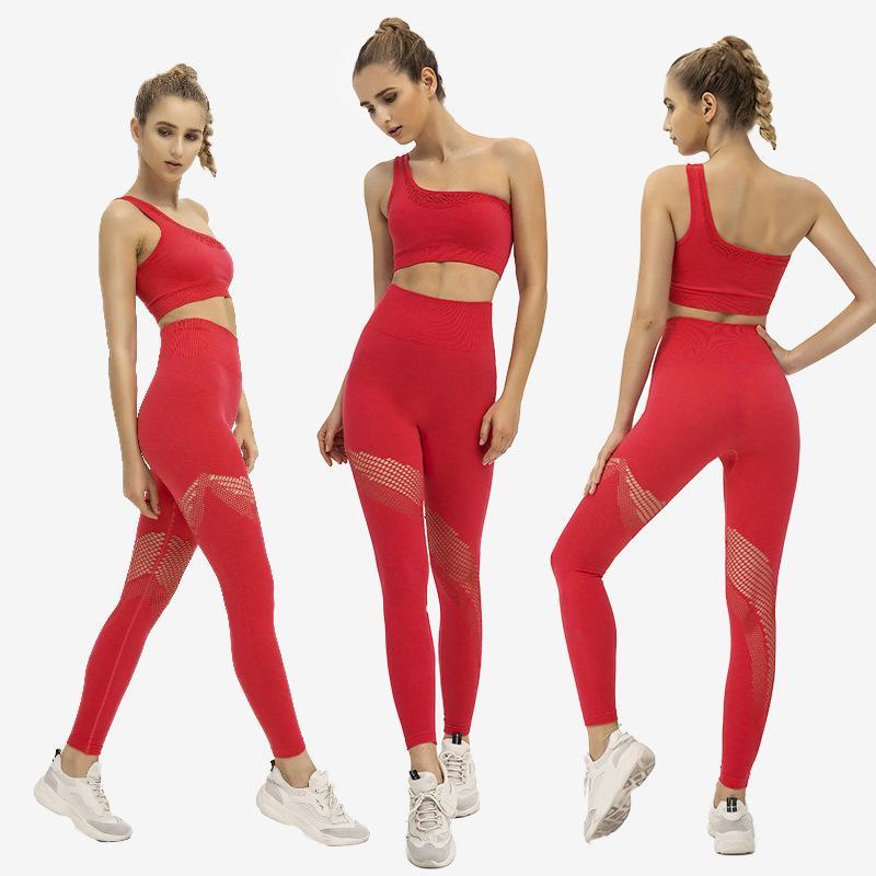 Zwei Stück Kleid Aushöhlen Strick Eine Schulter Set Für Fitness Frauen Crop Top Und Leggings Matching Damen 2 stücke Sportwear