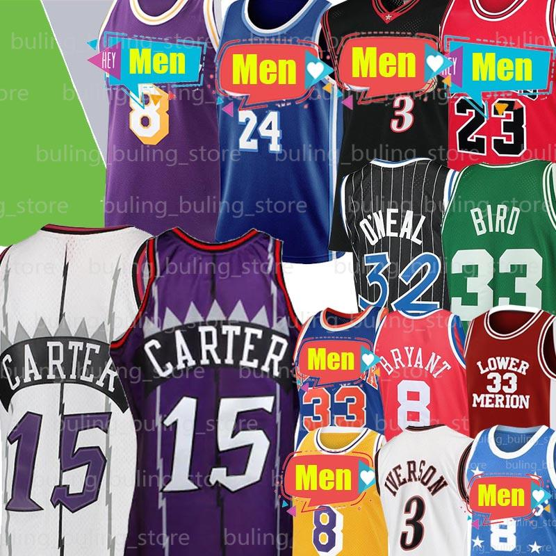 Alle Iverson 3 Jersey Vince Carter 15 Jersey Michael Larry 33 Vogel Patrick 33 Ewing 32 ONeal Männer Basketball-Trikots