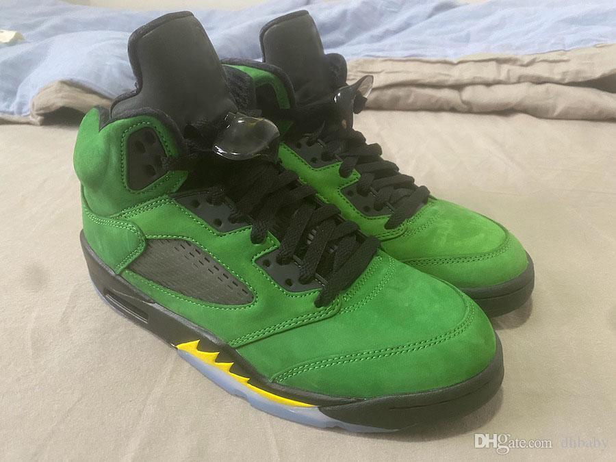 Aria Authentic 5 SE Oregon Ducks scarpe da basket Retro Mela Verde Giallo Nero Sciopero Jumpman 3M riflettenti 5S Uomini Sneakers Sport