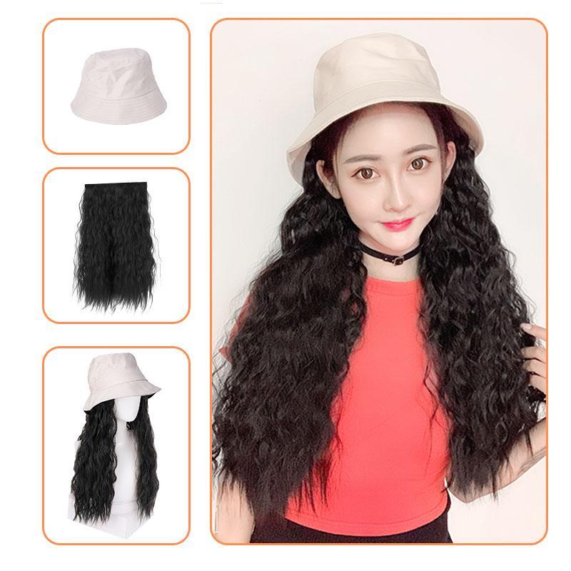 Парик Новой моды женщина с длинным вьющимся потому шляпой один париком волос кусок парика с extenssion естественными полными уборами
