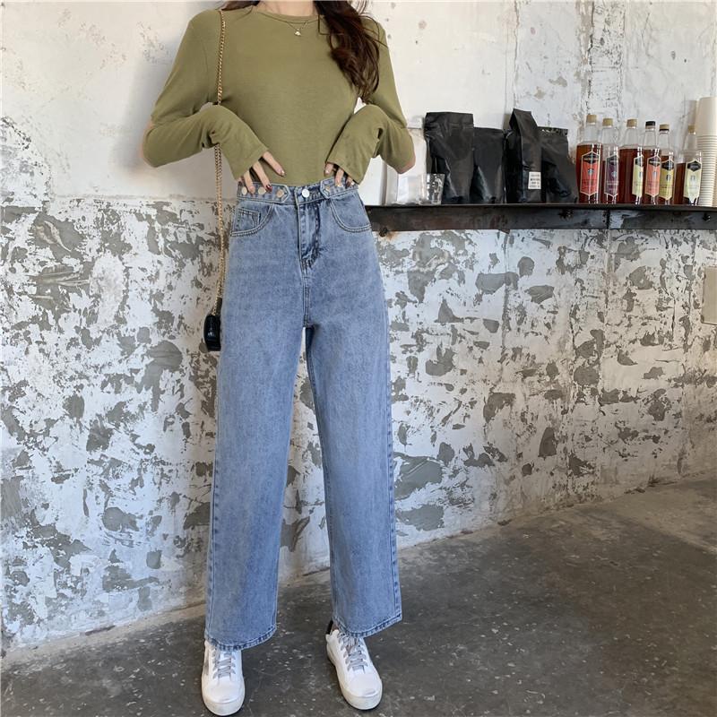 versão coreana da cintura alta Hang Loose sentindo fino estilo HyunA cec calças perna larga