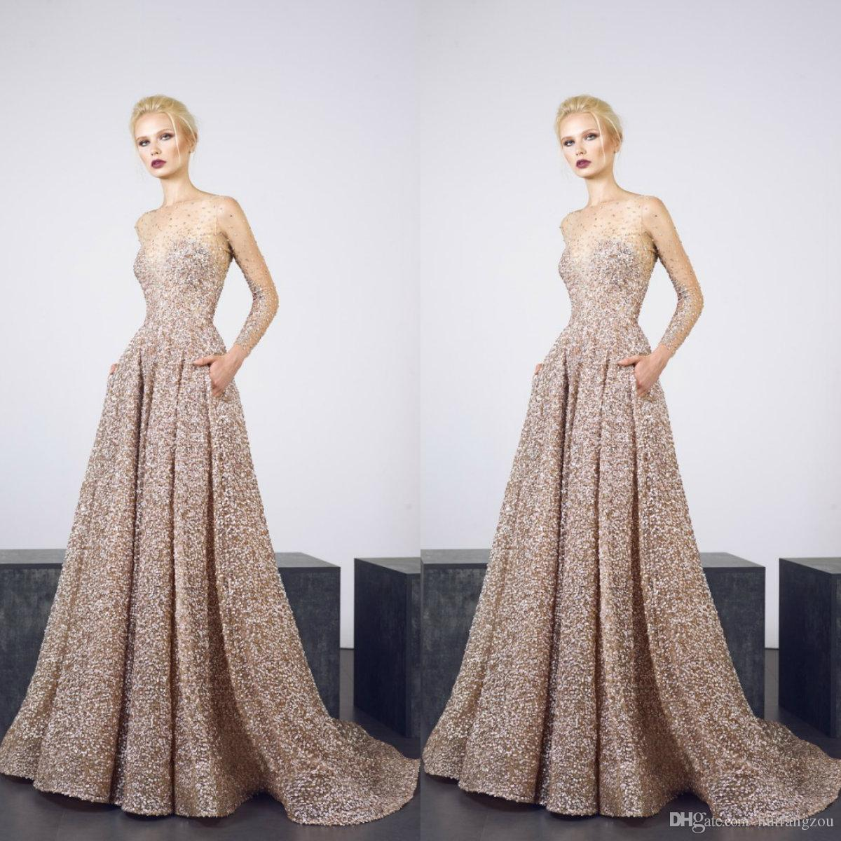 Luxury Gold Prom Dresses 2019 Sheer Neck Long Sleeves Crystal Sequins Evening Gowns Sweep Train Cocktail Party Dresses Custom Made