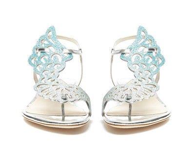 Sıcak satış sophia webster kadınlar çevirme melek kanatları tanga düz rahat ayakkabılar kristal kelebek düz sandalet kadın topuklu elbise sandalet