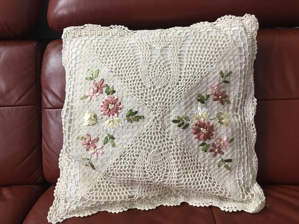 Square Home Decorative Crochet Ribbon Embroidery Natural Cotton Floral Style Ribbon Embroidered 45x45cm Pillow Case
