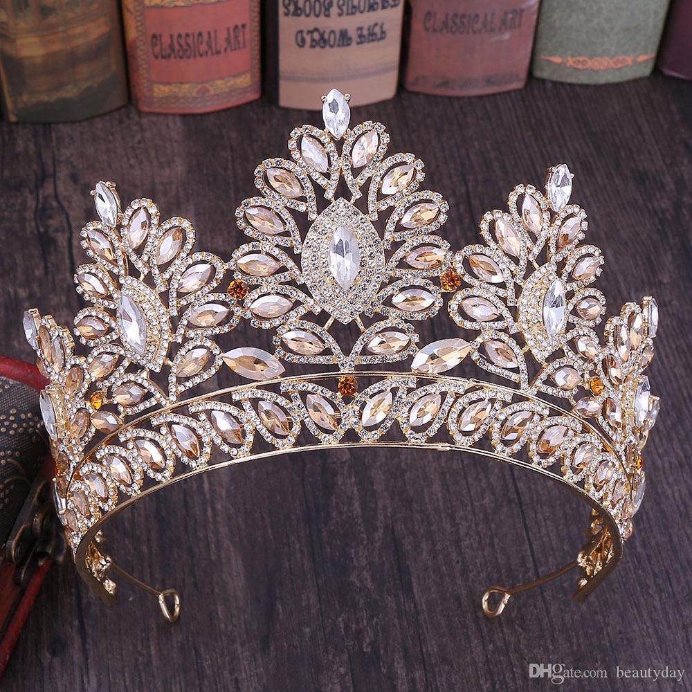 Большой Люкс Коронки Люкс Кристаллы Принцесса Свадебные Tiara Корона Аксессуары для волос невесты серебро Пром розовое золото Синий Красный