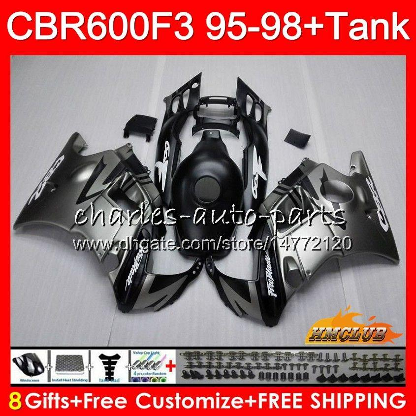 Body + Serbatoio per Honda CBR 600F3 600cc piatto argenteo CBR600 F3 95 96 97 98 41HC.11 CBR 600 FS F3 CBR600FS CBR600F3 1995 1996 1997 1998 carenatura