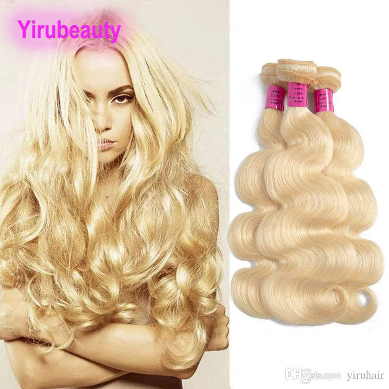 Malezya 10A İnsan Saç 613 # Sarışın Düz Remy Saç Örgüleri Çift Atkı Düz 613 Renk 8-30 inç Yiruhair