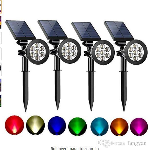Solar Spot Lights Outdoor 2-in-1 Colored Adjustable 7 LED Waterproof Security Tree Spotlights Lawn Step Walkway Garden (4 Pack)