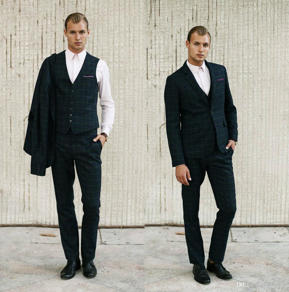 Slim Green Slim Fit Trajes de hombre Plaid Broom Tuxedos Novio Trajes Diseño Negocio Formal Prom Blazer 3 piezas (chaqueta + pantalones + chaleco)