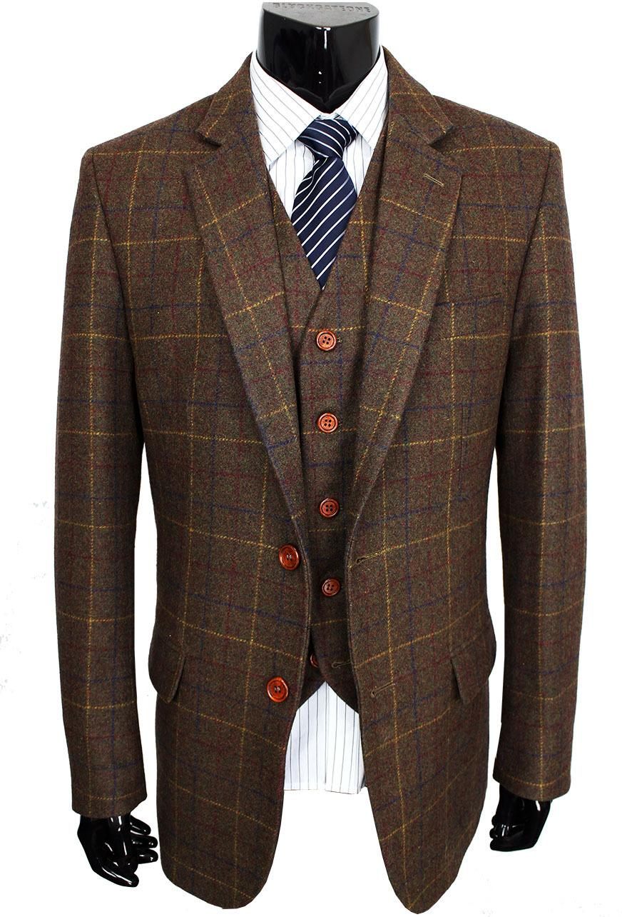 Lana traje marrón clásico Tweed por encargo de los hombres chaquetas sastre retro del estilo del caballero hizo trajes de boda como para los hombres delgados de 3 pedazos