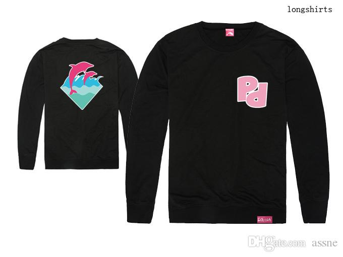 Camiseta de delfín rosa popular Hombres Deporte de manga larga Impreso Hip Hop Camiseta Hombres Hipster Ropa camiseta Streetwear Tees Camisas moda