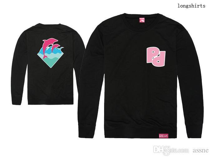 Beliebte rosa Delphin T-Shirt Männer Sport Langarm gedruckt Hip Hop T-Shirt Männer Hipster Kleidung T-Shirt Streetwear Tees Shirts Mode