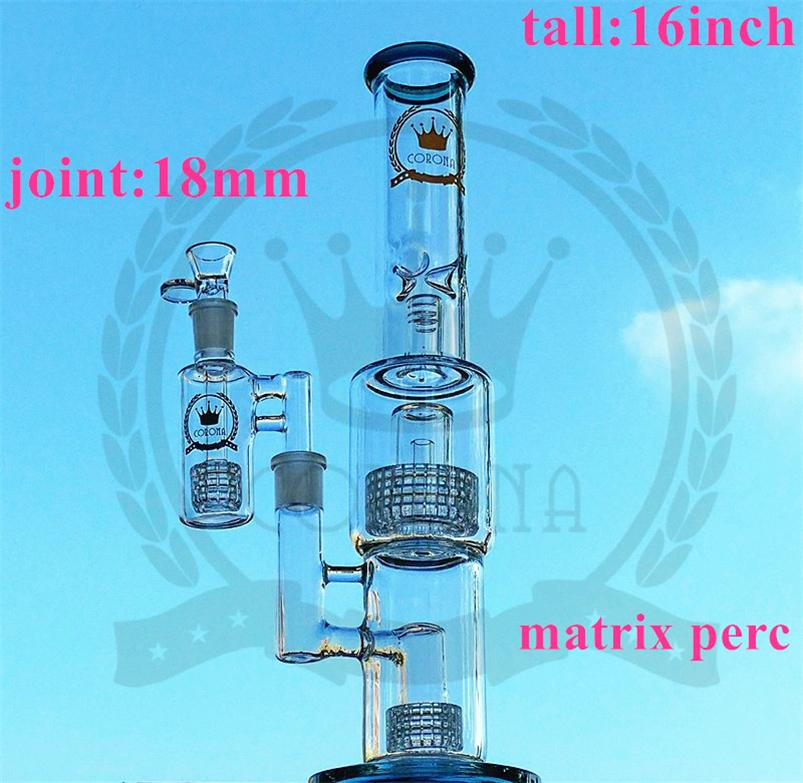 """Glass Water Bong Recycler Oil Rig 4 Rocket Honeycomb Perc Bubbler Dab Rig 16"""" inches Functional Ice Catcher Hookah Pipe Beaker Bong"""