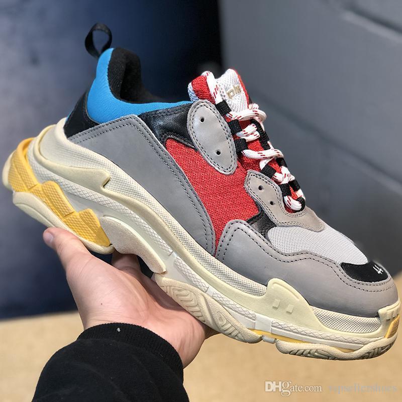 2019 модные дизайнерские кроссовки Triple s для мужчин женщин черный красный белый зеленый Повседневная обувь для папы теннис увеличение размера обуви 36-45