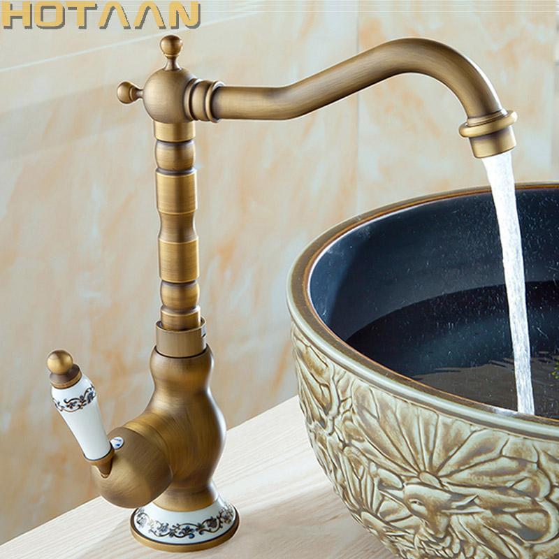 الخيالة النحاس العتيقة حوض الحنفيات بالوعة الحمام خلاط الطابق معالجة واحدة واحدة هول حمام صنبور نحاس الساخنة والباردة TapYT-5077
