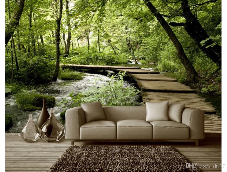 3D papel de parede personalizado foto papel de parede mural de seda Pequena ponte de água corrente madeira ponte de madeira 3D espaço sala de estar TV sofá mural fundo