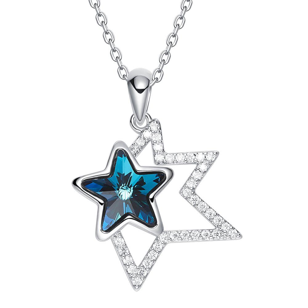 Cristalli all'ingrosso da Swarovski Collana pendente Blue Star a forma di gioielli in pietra Natale San Valentino Regali Bijoux per le donne