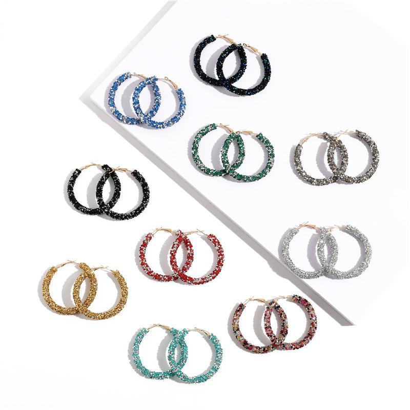 Pendientes de aro de cristal de círculo redondo geométrico de moda Bling para mujeres Pendientes de fiesta de diamantes de imitación Accesorios de regalo