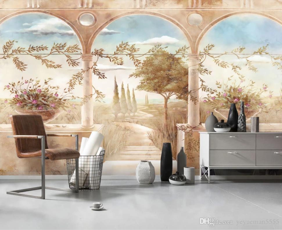 photo mural custom living room bedroom European retro nostalgic roman column 3D mural wallpaper