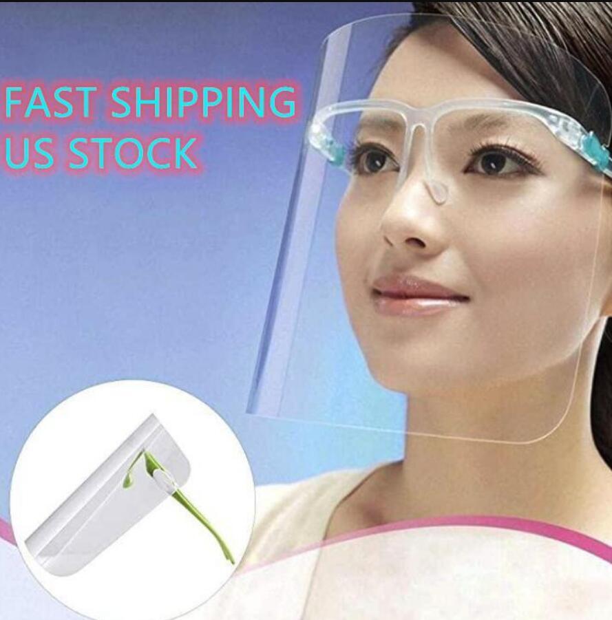 100 pc / lotto US Stock Clear Occhiali Visiera faccia piena protettiva in plastica maschera trasparente guardia antipolvere olio copertura spruzzi safty anti-fog