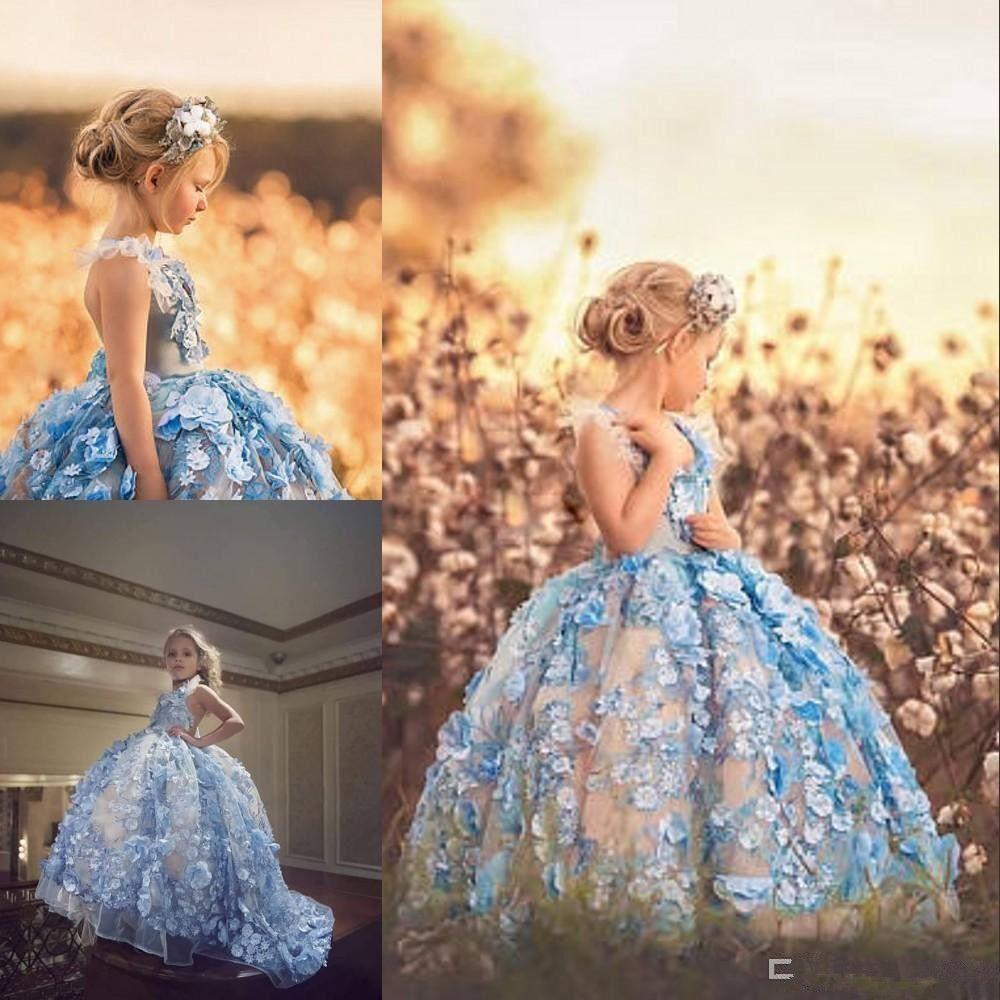 Açık Mavi Balo Çiçek Kız Elbise Halter Boyun 3D Çiçek Aplikler Boncuklu Tül Pageant Elbise Custom Made Kız Communion Elbise