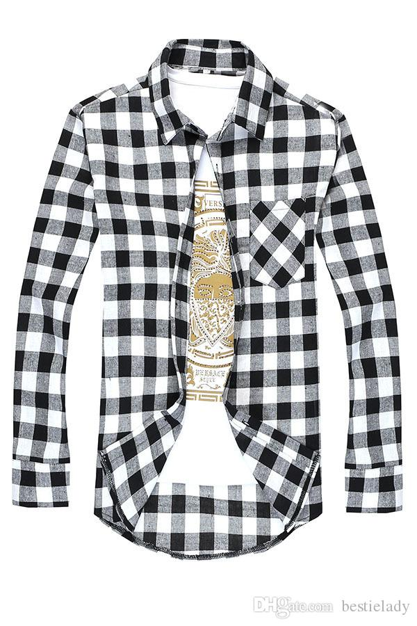 Spring Autumn Men's Young Adult Casual Plaid Button-up Long Sleeve Turn-Down Collar Slim Fit Shirt Top M-3XL