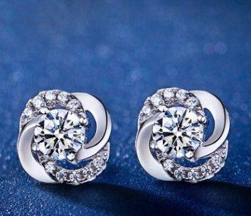 2 pares / lotes borlas preço baixo jóias de cristal de alta qualidade storne 925 brincos da senhora de prata 3.2tyrr