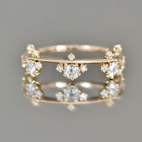 De lujo anillo de bodas de la flor de Rose de compromiso anillo de oro anillo de acero inoxidable anillos de la promesa para el anillo de las mujeres del amor