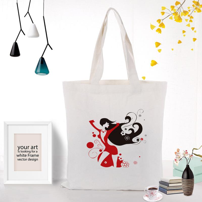 иллюстрация девушка холст сумка хозяйственная сумка Пользовательские печати текста DIY ежедневного использования Eco Ecologicas многоразовые корзины сумки