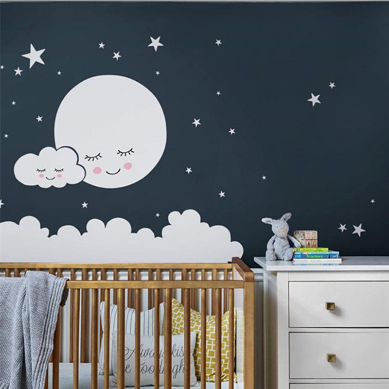 Moon Wall Decal Cloud Nursery Wall Stickers For Kids Room Decal Nursery Stars Wall Sticker Girls Decorative Vinyl Babies T180732 Q190416