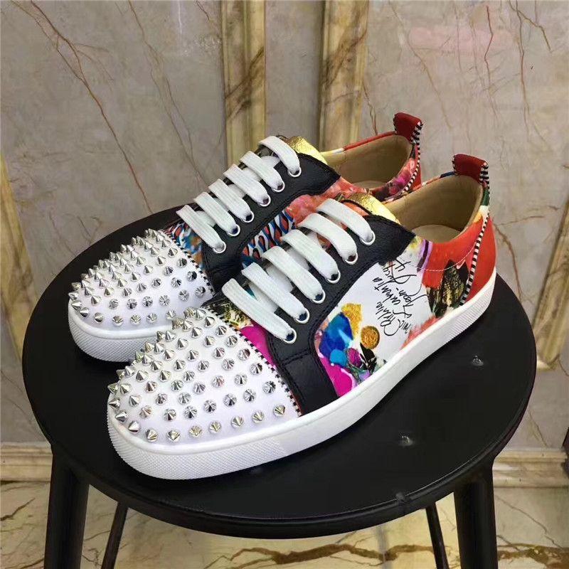 [Avec boîte] Classique Spikes Chaussures de sport mode rouge Bas pour femmes, impression Low Top Graffiti Hommes Cuir Casual Party Flat Robe Chaussures de marche