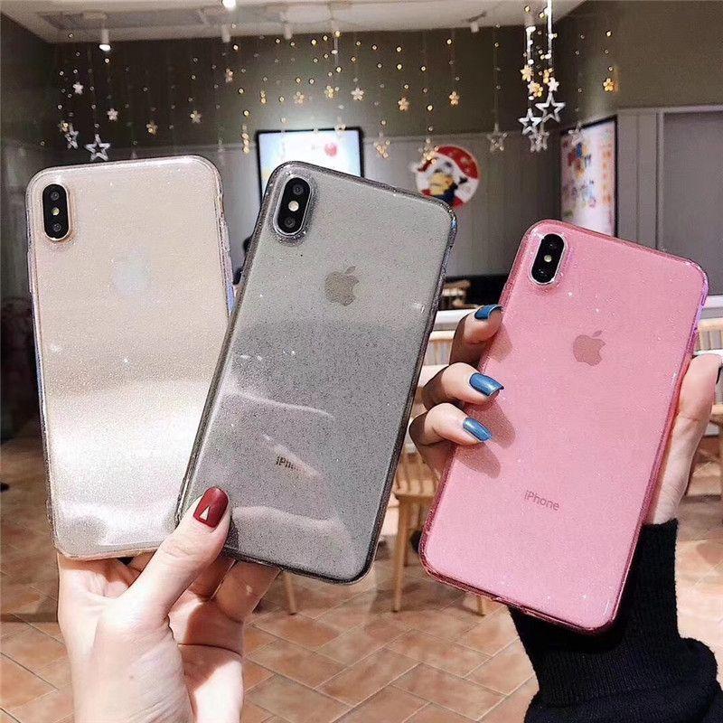 Für iphone 6 7 8 9 plus xs max xr transparent bling tpu sparkle abdeckung case tasche mit logo cut