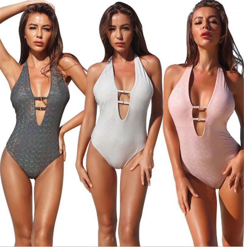 Высокая талия Купальники лето Женщины дизайнер бикини Мода Drilling выдалбливают Холтер Swimsuits Sexy Глубокий V шеи
