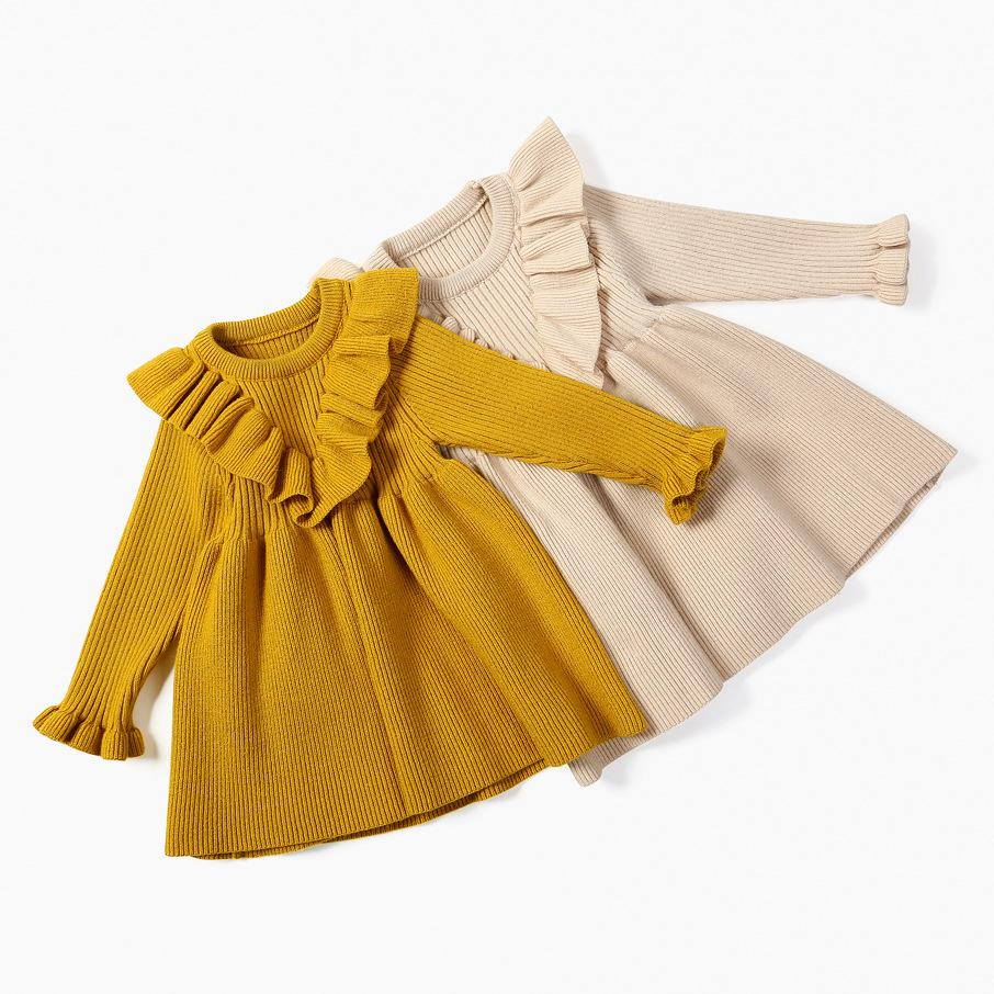 ازياء طفل رضيع طفل بنات محبوك فستان طويل كم الكشكشة الربيع طفلة خمر