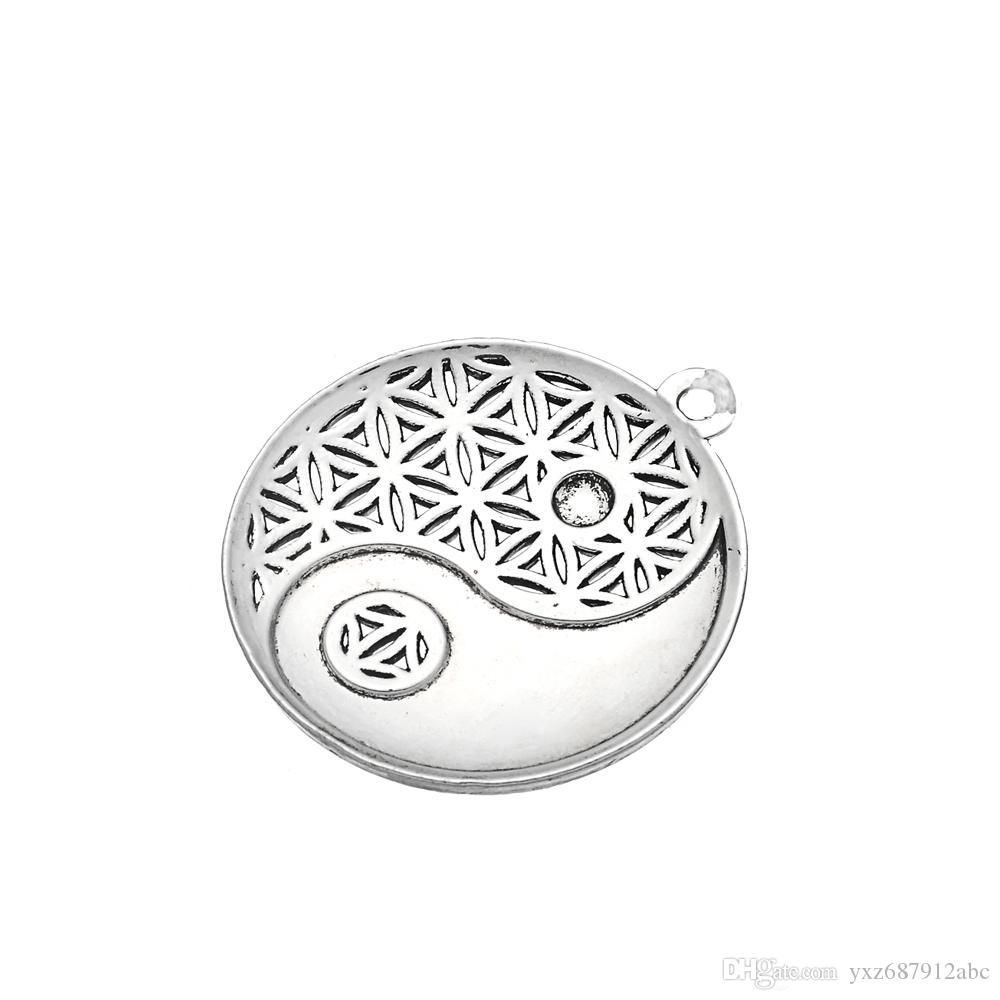 Egyptian Jewelry Tai Chi Mandala Silver Plated Charm Thick Wheat Chain Lobster Clow Clasps Bracelet