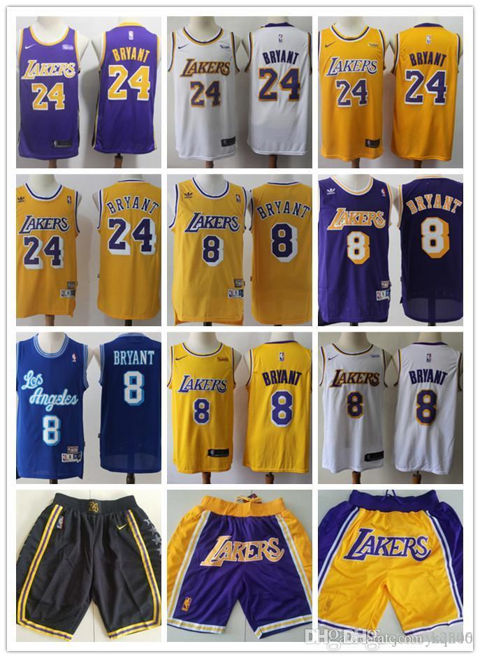 Homens Los AngelesCamisa Lakers Throwback824KobeBryantBasketball Shorts Basketball Jersey roxo amarelo