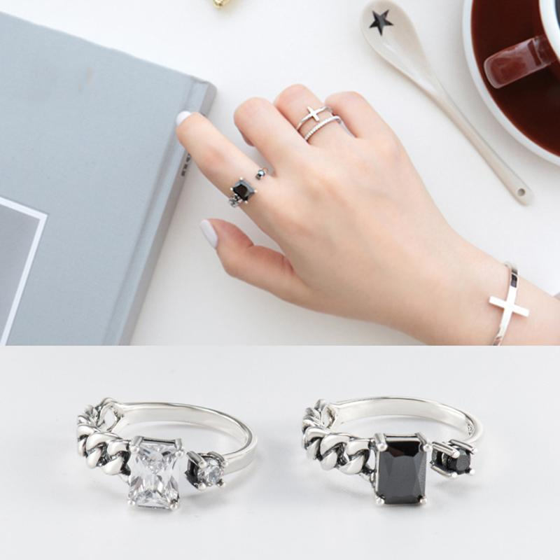 Simple Crystal Inlay Sterling S925 Sliver Ring Female Black Transparent Diamond Adjustable Opening Size Rhinestone Rings Finger Jewelry