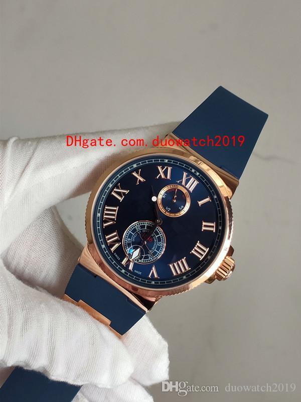 2019 nuevos hombres de lujo reloj de pulsera cronómetro marino esfera azul 18kt oro rosa 263-67-3 / 43 reloj para hombre automático reloj para hombre 43 mm de calidad superior