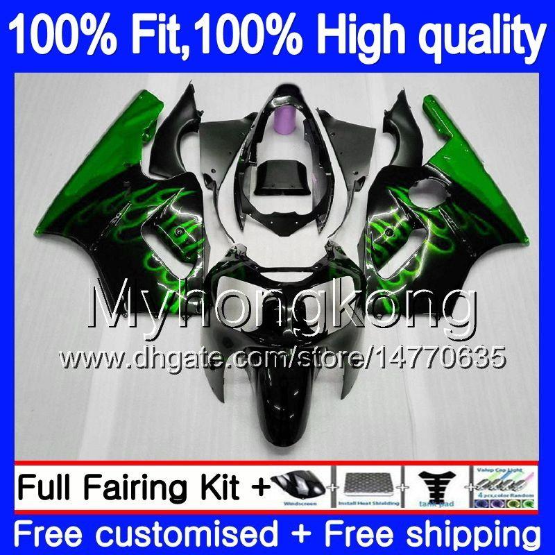 Injeção de OEM para a Kawasaki ZX 12R ZX1200 1200cc 2002 2003 2004 2005 2006 224MY.0 ZX 12 R ZX12R ZX12R 02 03 04 05 06 chamas Fairing verdes