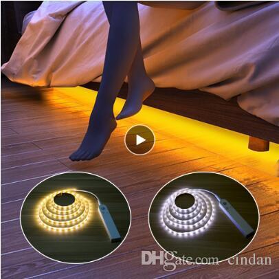 PIR sensor de movimiento LED Tiras de luces para la cocina LED debajo del gabinete, luz de noche Escaleras Armario noche de la lámpara de la lámpara de seguridad Energía de la batería